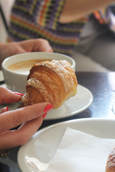 Italian breakfast: a cappuccino and cornetto